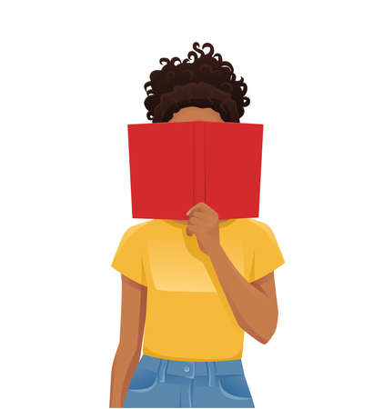 Young woman reading hiding behind book isolated  illustration 일러스트