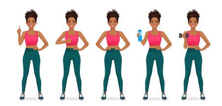 Sport african fitness woman in sportswear set isolated  illustration