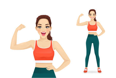 Sport fitness surprised woman showing bicep on her arm isolated  illustration