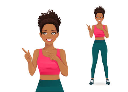 Sport young woman pointing away gesture isolated vector illustration