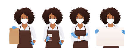 Smiling african woman in apron wearing protective mask as protection against transmissible infectious diseases and air pollution. Isolated vector illustration Illusztráció