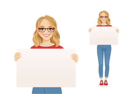Beautiful smiling young woman in jeans with glasses holding empty blank board isolated vector illustration