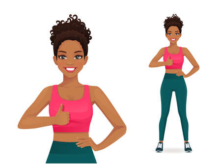 Sport african woman showing thumb up gesture isolated vector illustration