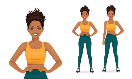 Sport african fitness woman in sportswear isolated vector illustration