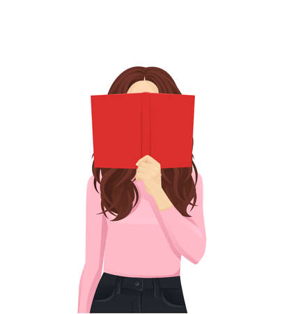 Young woman reading hiding behind book isolated vector illustration