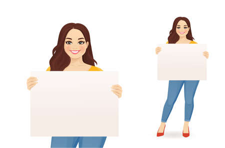 Beautiful smiling plus size woman in jeans holding empty blank board isolated vector illustration 일러스트