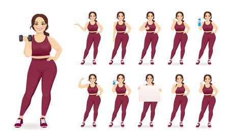 Sport fitness plus size woman in sportswear set isolated vector illustration 일러스트