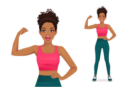 Sport african fitness surprised woman showing bicep on her arm isolated vector illustration 일러스트