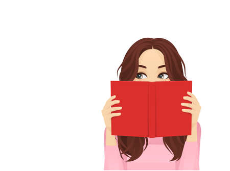 Young woman reading hiding behind book and looking away isolated vector illustration