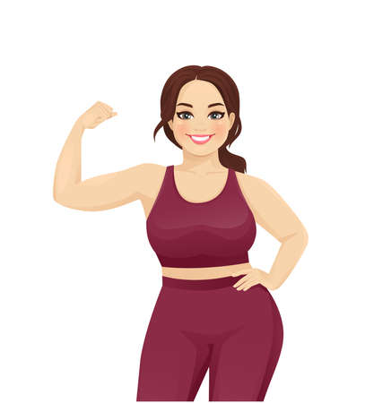 Sport fitness plus size woman showing bicep on her arm isolated vector illustration