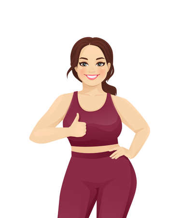 Sport plus size woman showing thumb up gesture isolated vector illustration