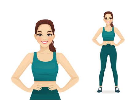 Sport fitness woman in sportswear standing isolated vector illustration Ilustracje wektorowe