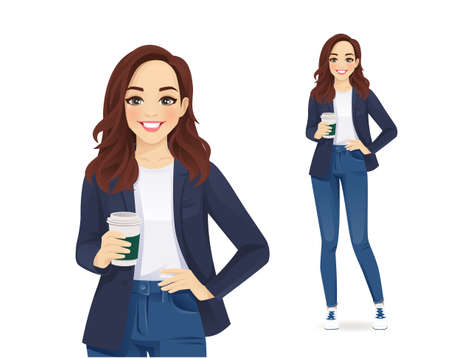 Casual young business woman with coffee cup in jeans isolated vector illustration Illusztráció