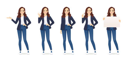 Casual cute business woman in different poses set isolated vector illustrtion