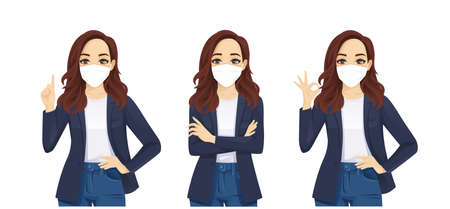 Sad beautiful business casual woman wearing protective mask as protection against transmissible infectious diseases and air pollution. Isolated vector illustration