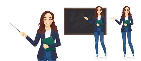 Female young teacher in casual clothes at blackboard with copy space showing something using pointer stick isolated vector illustration