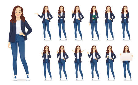 Casual business woman character in different poses set in jeans isolated vector illustration