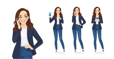 Casual young business woman with mobile phone isolated vector illustration Illusztráció