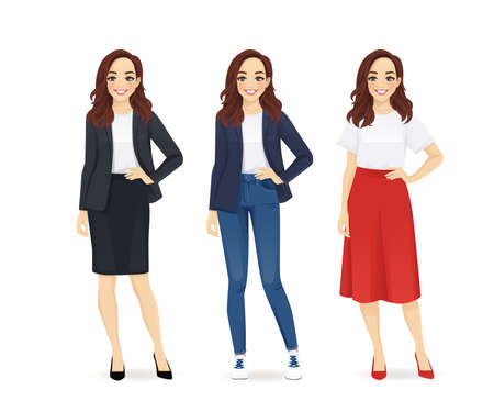 Young woman dressed in different business style clothes set isolated vector illustration