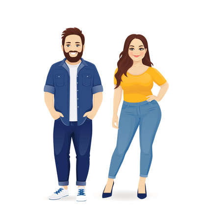 Young plus size people in casual clothes. Smiling couple man and woman isolated vector illustartion Illusztráció