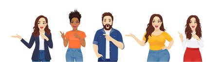 Surprised shocked men and women pointing away in casual style clothes set isolated vector illustration