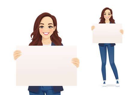 Casual cute businesss woman holding empty blank board isolated vector illustration