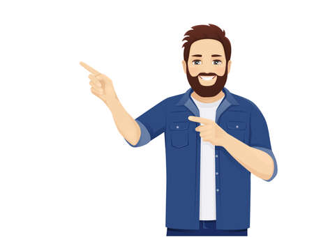 Handsome big man in casual clothes ponting to something isolated vector illustration Illusztráció