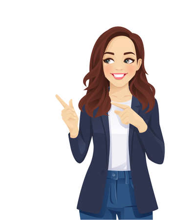 Casual business woman pointing away isolated vector illustration