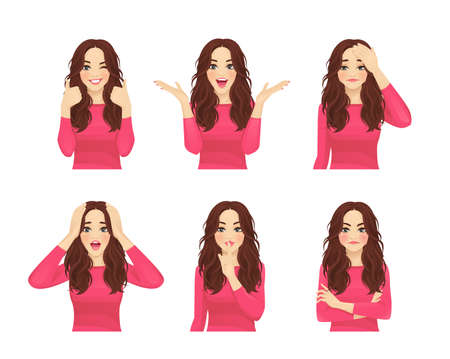 Set of young beautiful woman with long hair. Facial expression with various gestures isolated vector illustration