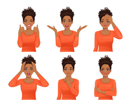 Set of young african woman with long hair. Facial expression with various gestures isolated vector illustration