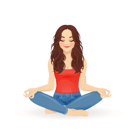 Young beautiful woman practicing yoga sitting in lotus pose with crossed legs isolated vector illustration