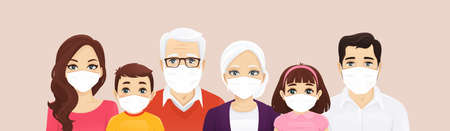Big family portrait wearing protective medical masks. Father, mother, children and grandparents protect themselves against infectious diseases, virus and air pollution. Vector illustration isolated. 矢量图像