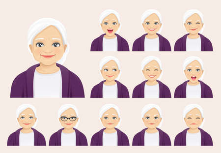 Mature senior woman with different facial expressions set isolated vector illustration 矢量图像