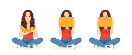 Young beautiful woman sitting with crossed legs and reading book set isolated vector illustration