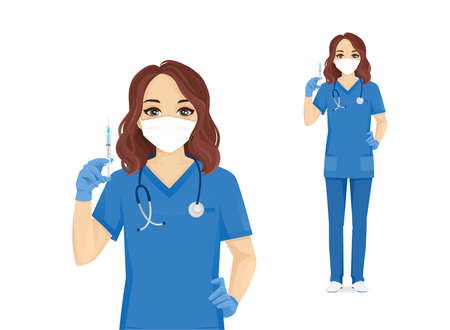 Female nurse character wearing protective medical mask and gloves holding syringe in hand isolated vector illustartion 矢量图像