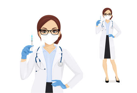 Female doctor character wearing protective medical mask and gloves holding syringe in hand isolated vector illustartion 矢量图像