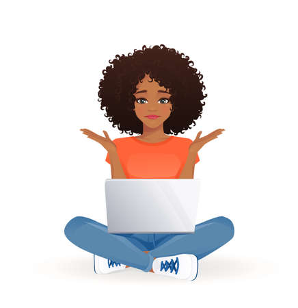 Young african frustrated woman using laptop computer sitting with crossed legs isolated vector illustration 스톡 콘텐츠 - 162630757