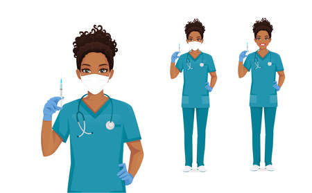 Female african nurse character wearing protective medical mask and gloves holding syringe in hand isolated vector illustartion