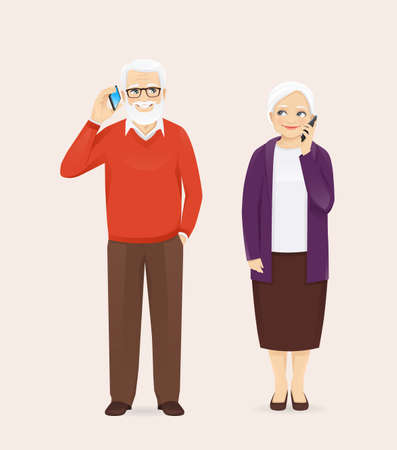Mature senior couple in casual outfit talking on the phone. Old man and woman, grandparents isolated vector illustration.