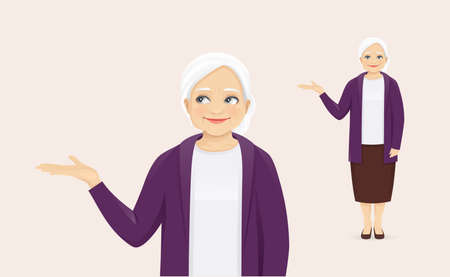 Mature senior woman in casual clothes presenting something showing vector illustration