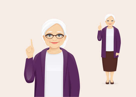 Mature senior woman in casual clothes pointing up with idea vector illustration