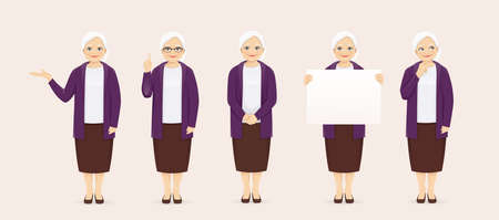 Mature senior woman in casual clothes set with different gestures vector illustration
