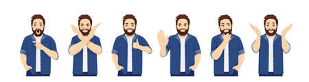Handsome big man in casual clothes with different expressions and gesture set isolated vector illustration