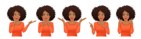Surprised shocked african woman with different gestures and open mouth isolated vector illustration 矢量图像