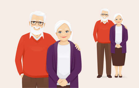 Portrait of romantic senior couple standing. Old man and woman, grandparents isolated vector illustration.
