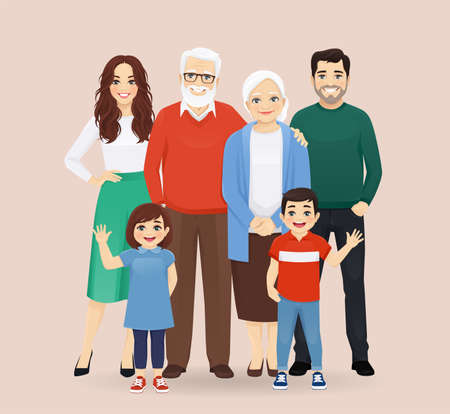 Big happy family with grandparents and childrens vector illustration isolated. Mother, father, daughter, son, grandfather, grandmother.