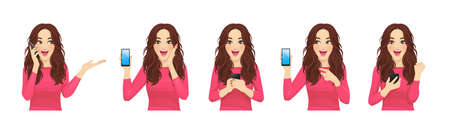 Surprised shocked beatiful woman with phone set isolated vector illustration
