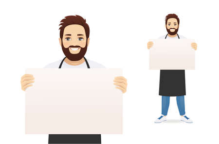 Handsome man in black apron presenting something holding empty blank board or paper isolated vector illustration 矢量图像