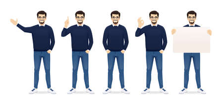 Handsome business man in casual clothes standing in different poses set isolated vector illustration 矢量图像