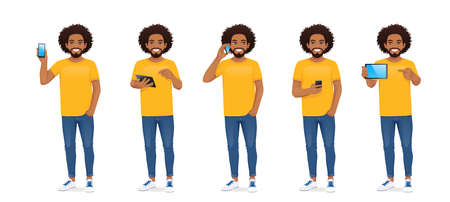 Young african man with phone 向量圖像